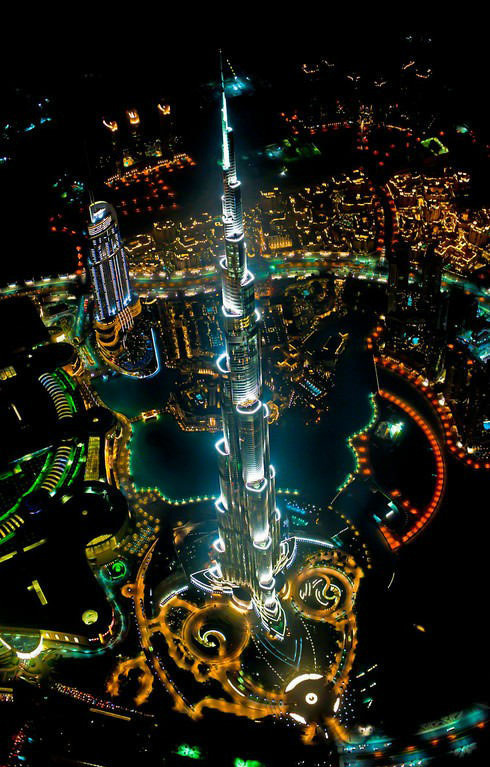 Tallest Building in the World, From a Helicopter, at Night
