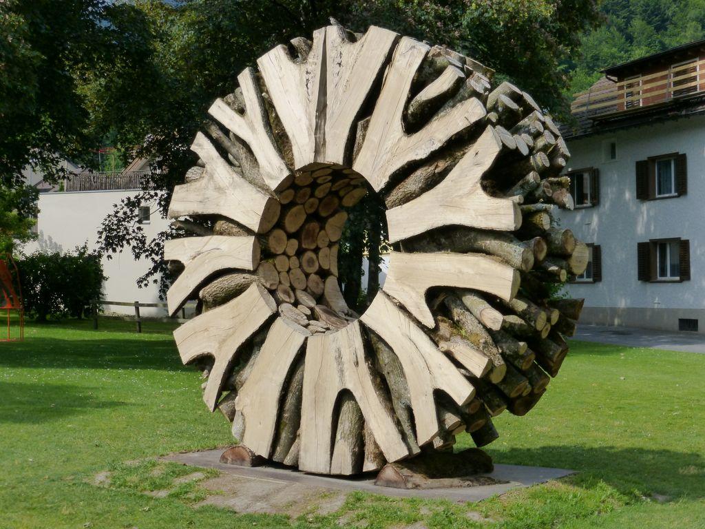 Wood wheel sculpture