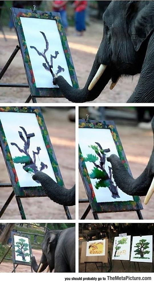 Elephant Painting A Tree