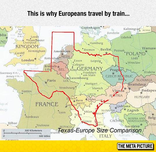 Texas-Europe Size Comparison