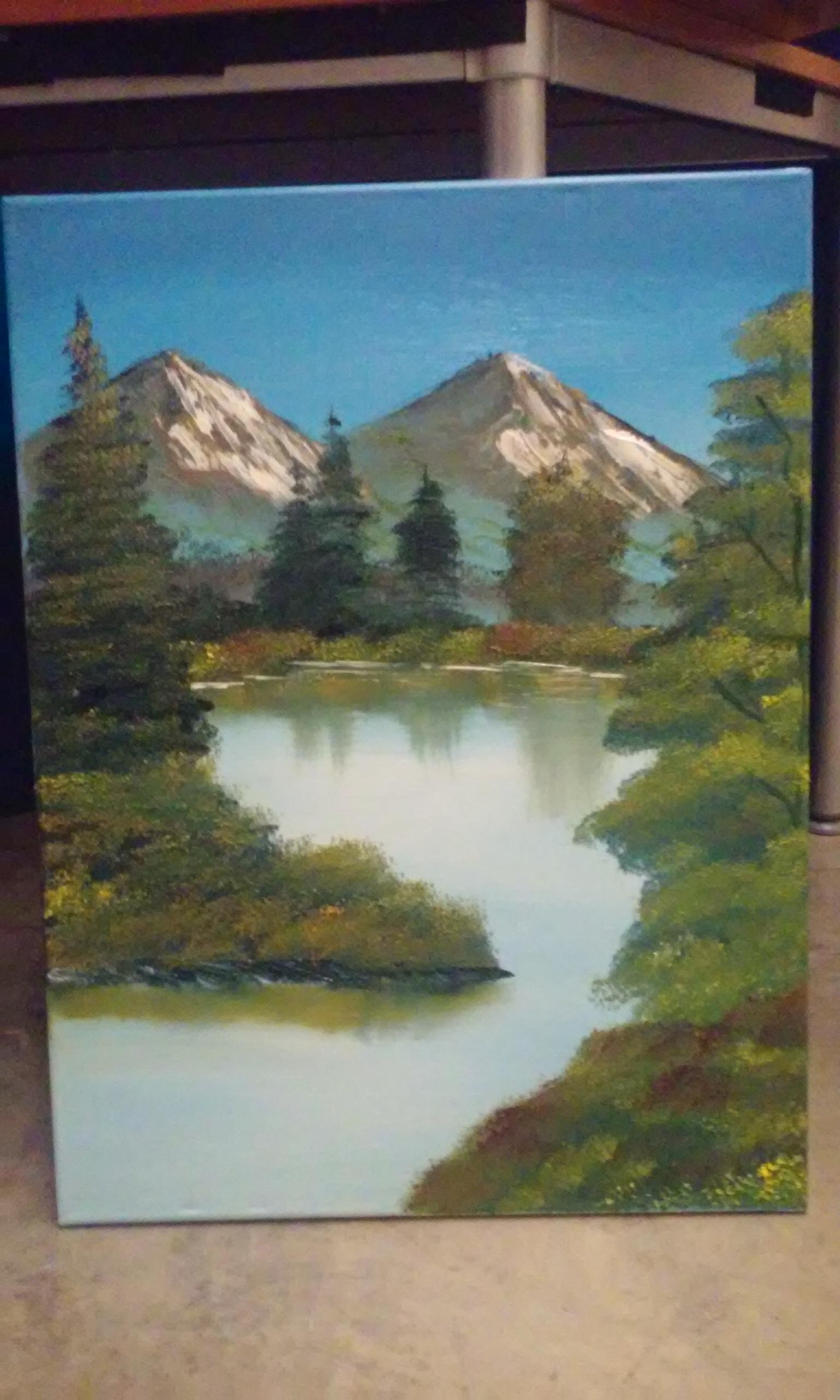 A Bob Ross style Mountain Painting I did this week.