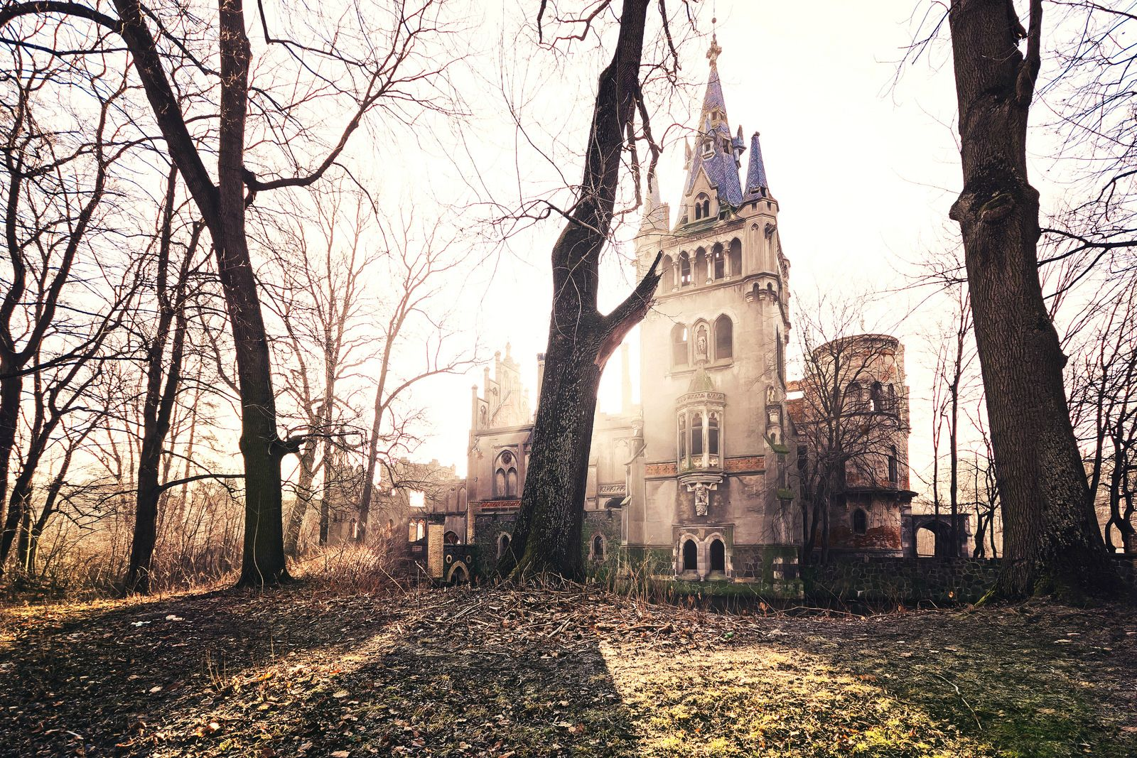 An abandoned mansion in the country