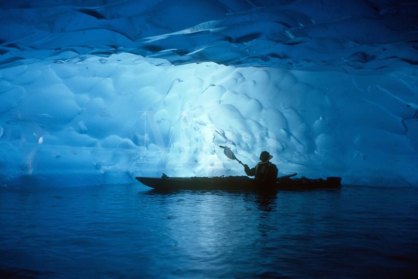 Beneath a glacier in Alaska