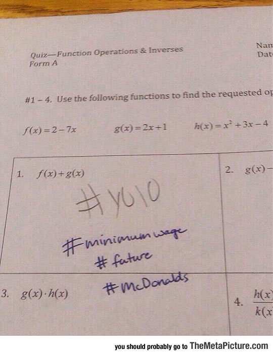 Student Writes YOLO On Math Quiz, Here