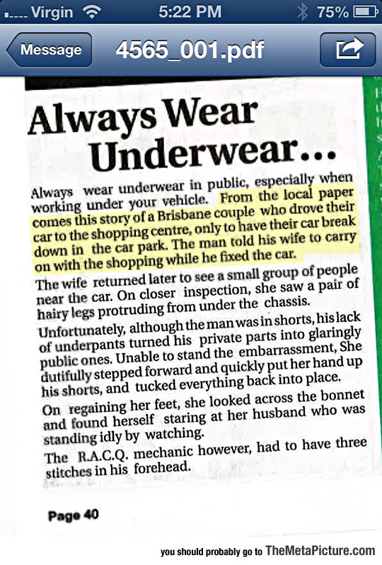 Why You Should Always Wear Underwear In Public