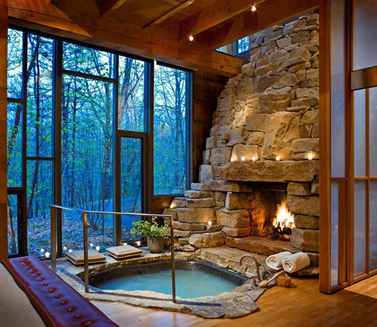 hot tub fireplace