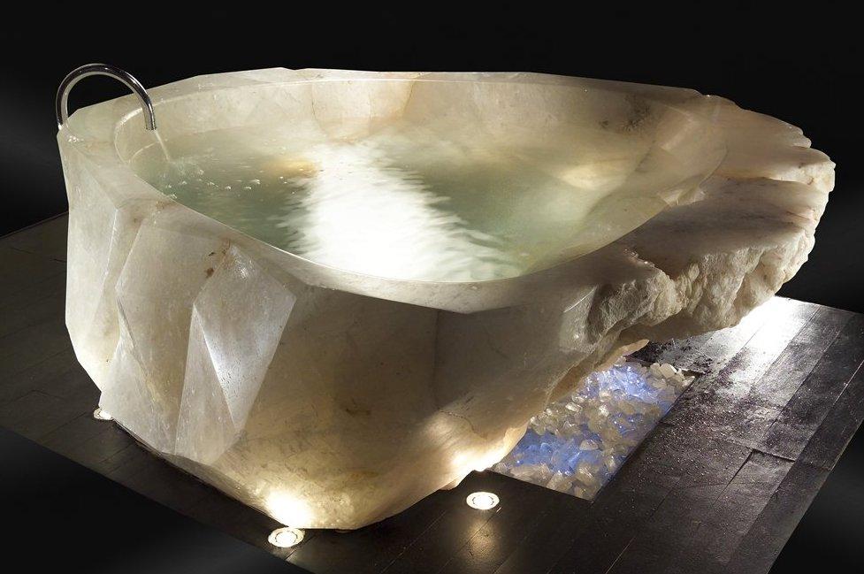 Bathtub cut from a single piece of quartz crystal