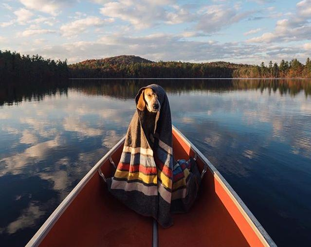 Bundled up on a cold morning canoe ride