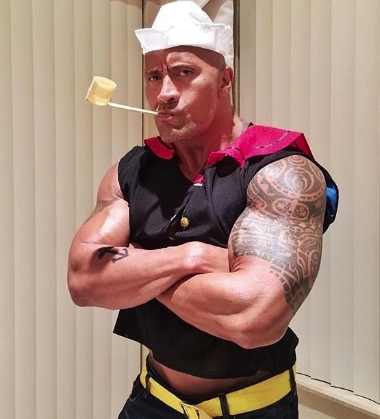 Dwayne Johnson went as Popeye for Halloween