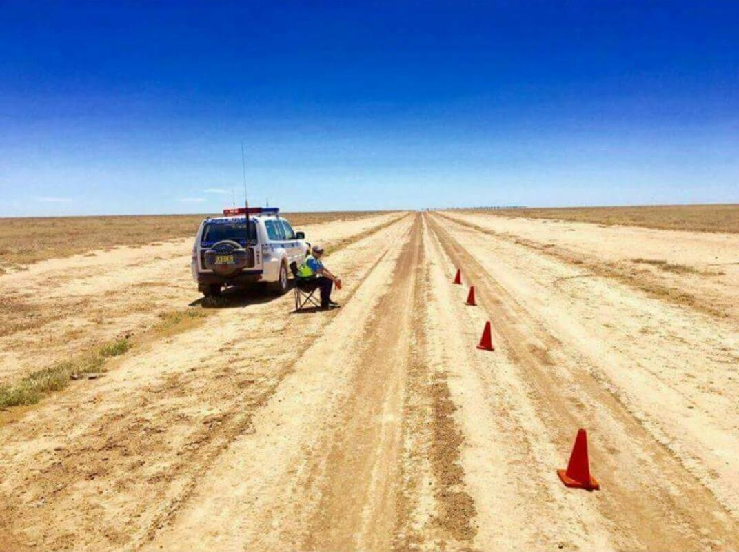 Outback Australian alcohol breath test checkpoint.