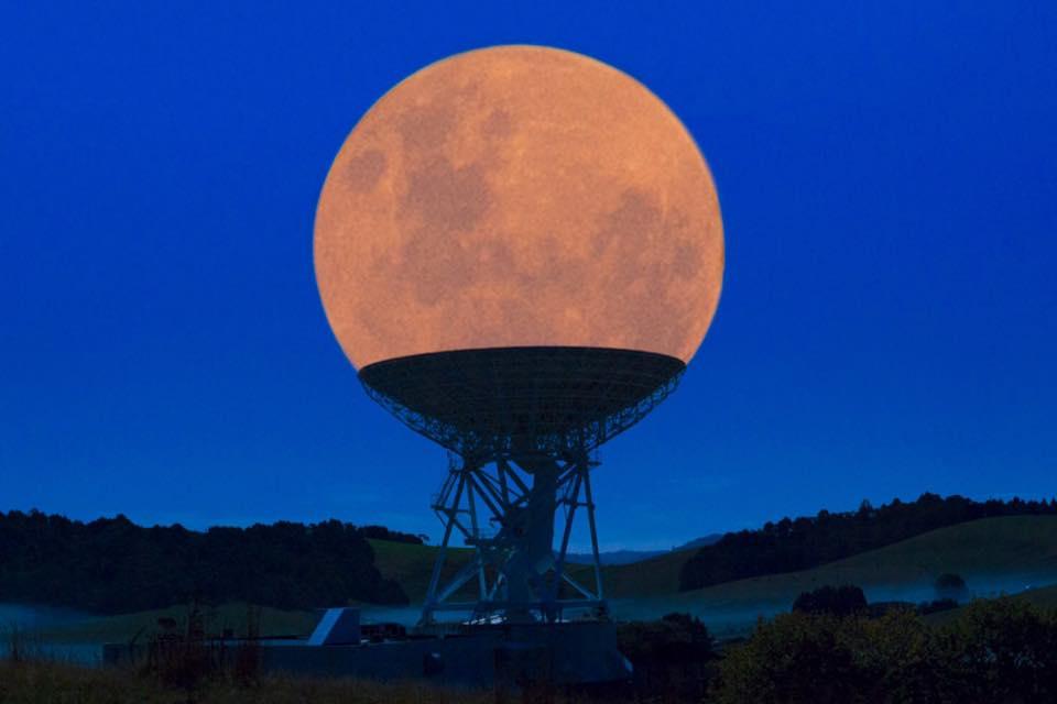 Supermoon in radio telescope.