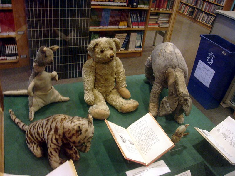 The actual stuffed animals that belonged to the real life Christopher Robin and inspired Winnie the Pooh.