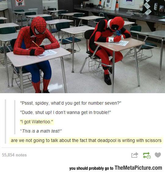 cool-Spiderman-Deadpool-school-test