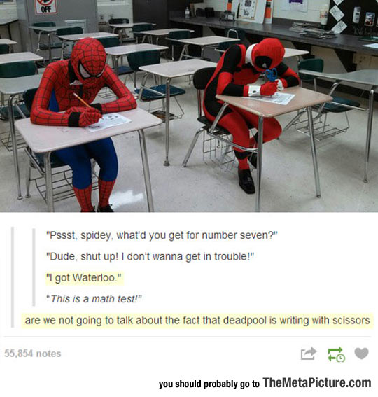 Deadpool And Spiderman Take A Test