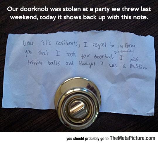 Lost Doorknob Finally Found