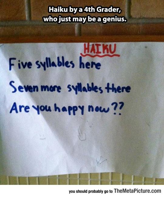 4th Grader Haiku