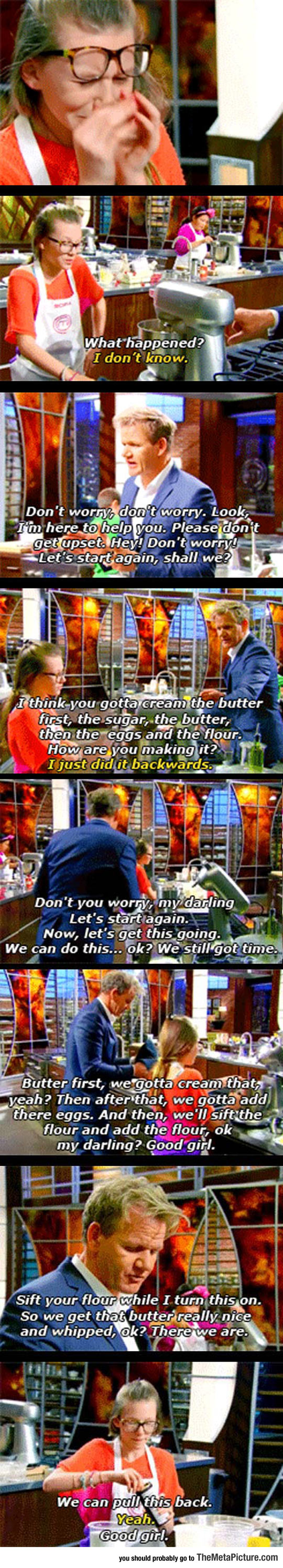 Chef Ramsey Helps A Contestant That Fell Into A Crisis