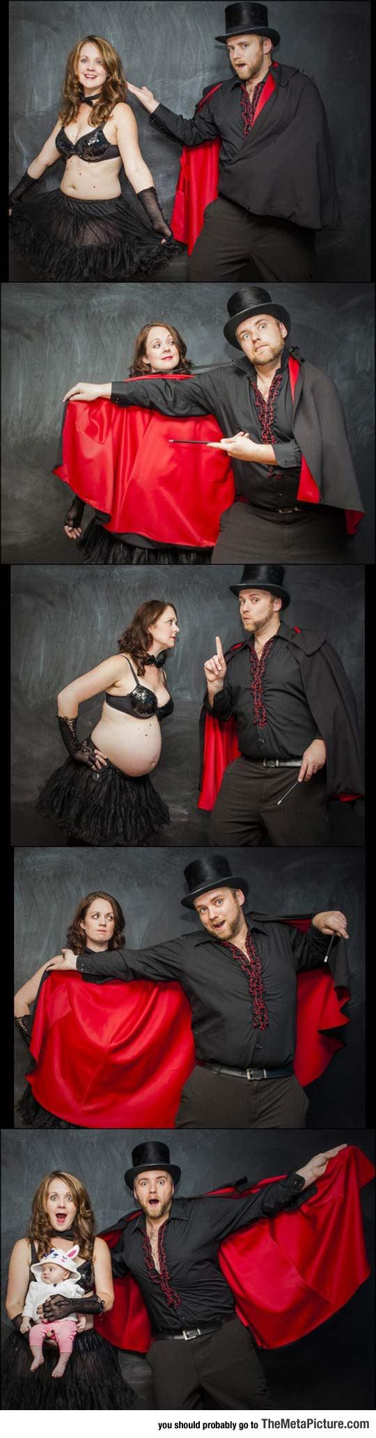 funny-dad-magician-pregnancy-announcement