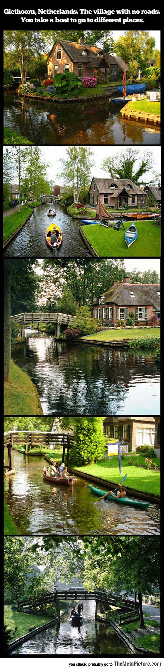 travel-Netherlands-village-no-roads-water-boat