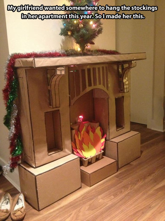 Epic Cardboard Fireplace