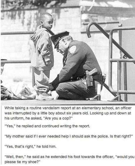 Little boy asks for help