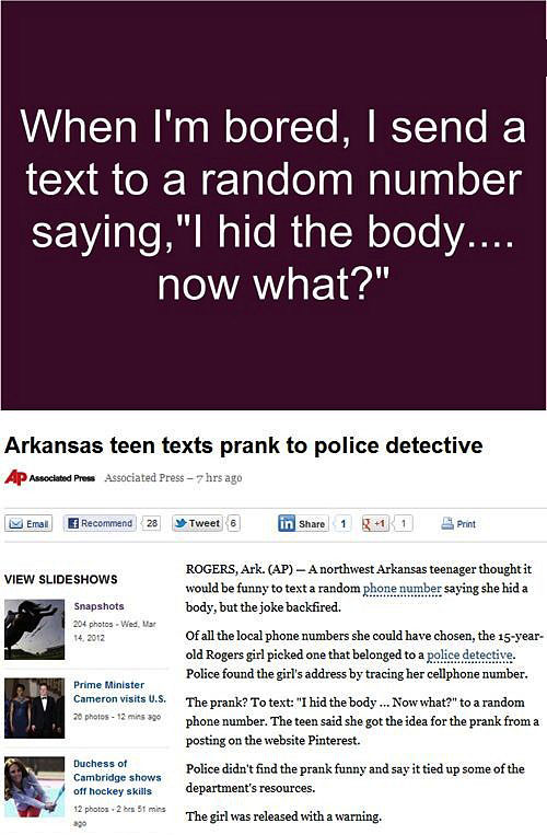 Text prank goes wrong