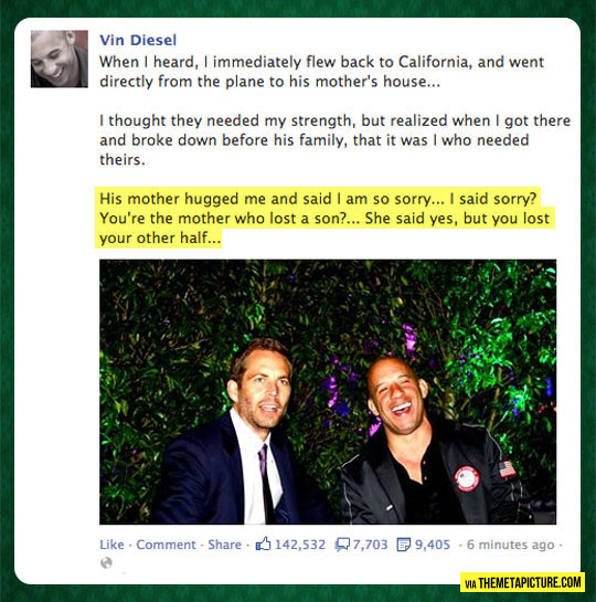 Vin Diesel On His Friend Paul Walker