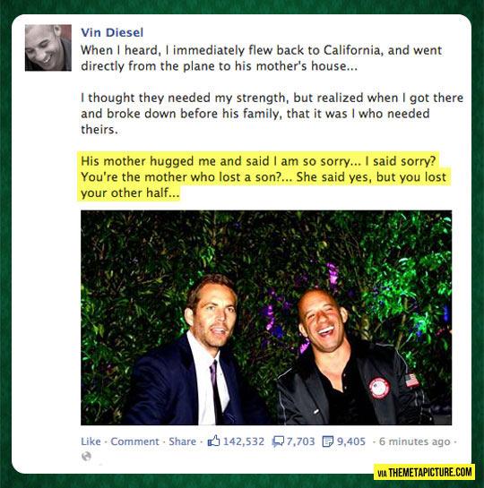 Vin Diesel On His Friend Paul Walker's Death
