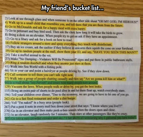 This Bucket List Focuses On The Important Things