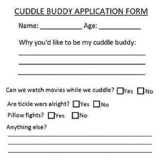 I Want To Cuddle With You Quotes: Cuddling Application Form