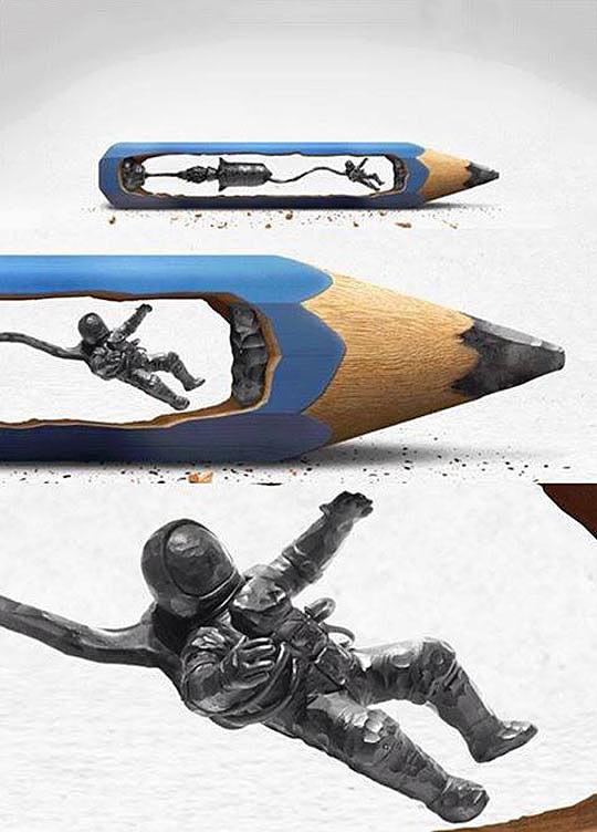 cool-pencil-sculpture-astronaut-space