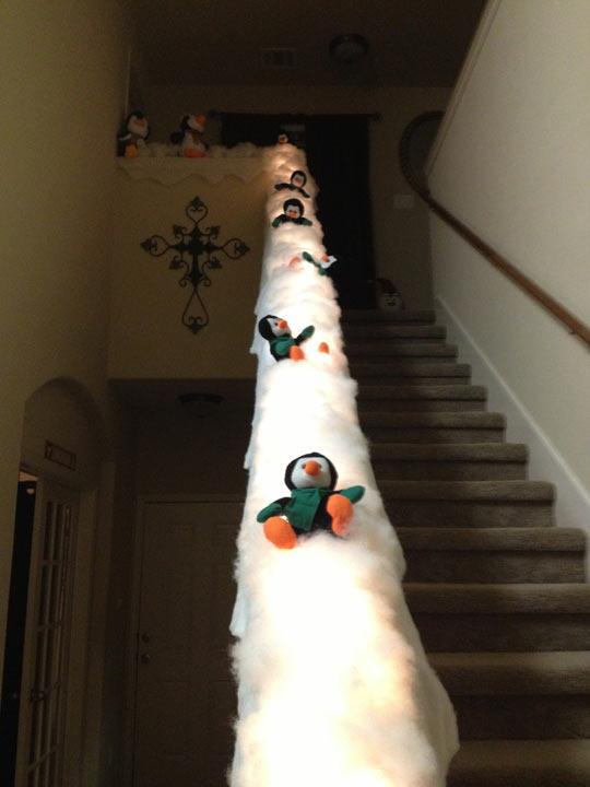 Turn Your Banister Into An Epic Penguin Slide