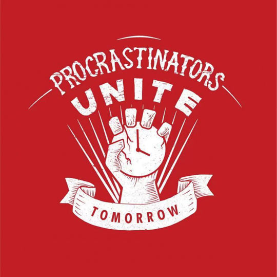 cool-procrastination-sign-logo-clock-hand