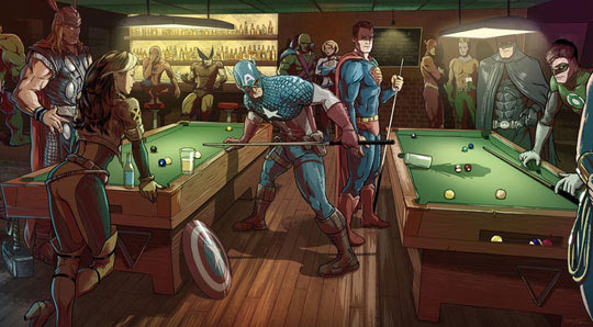 funny-DC-Marvel-characters-bar-pool-Superman-comics