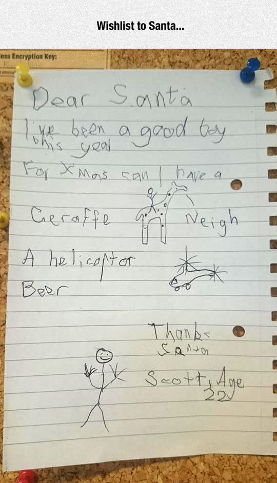 Dear Santa, Here