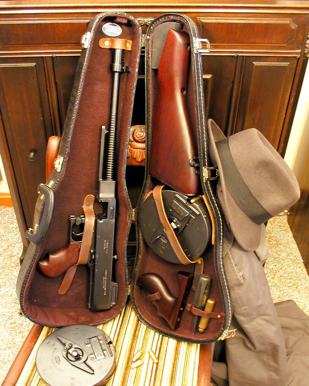 1928 Tommy gun inside a violin case.