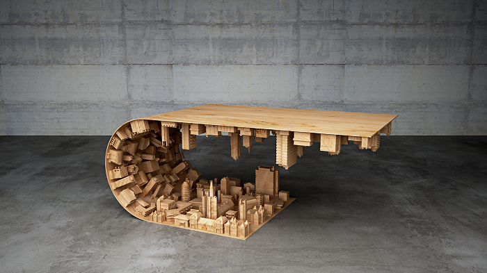 Coffee table based on scene from Inception