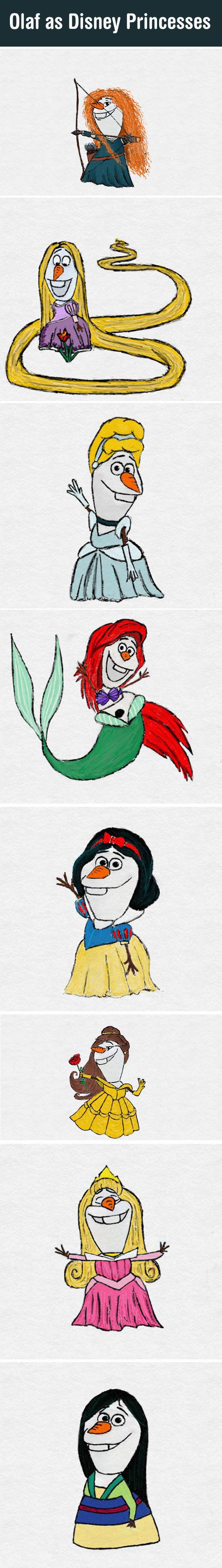 If Olaf Was Actually A Disney Princess