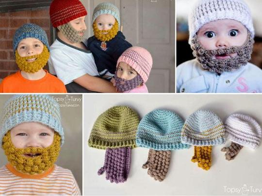 Knitted Beanie Beard Win