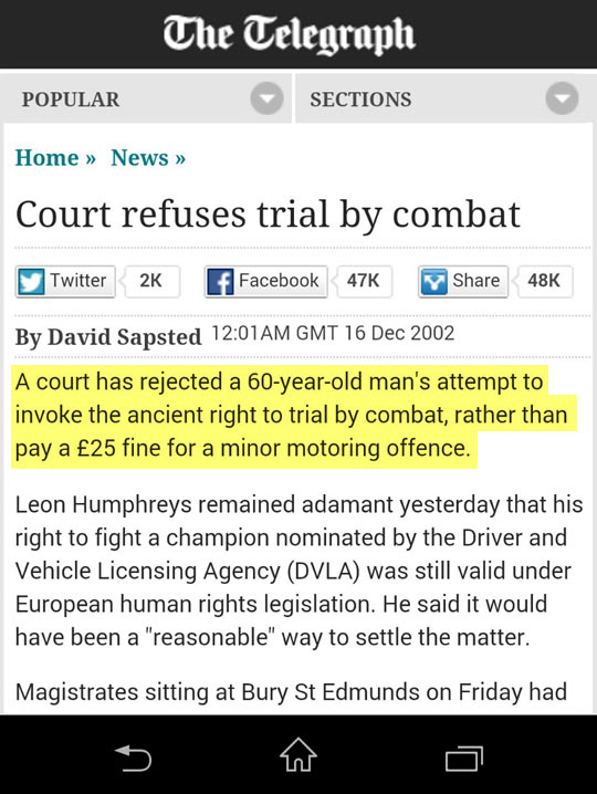 Trial By Combat Like In The Old Days