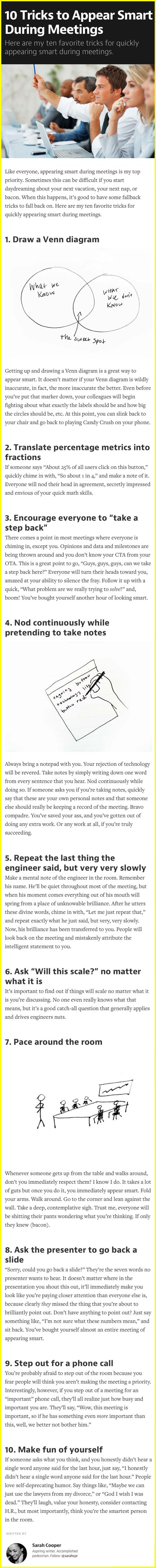 How To Easily Appear Smart During Meetings
