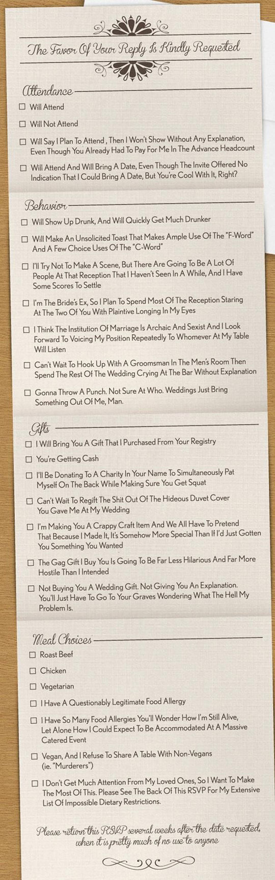 A Very Honest Wedding Invitation