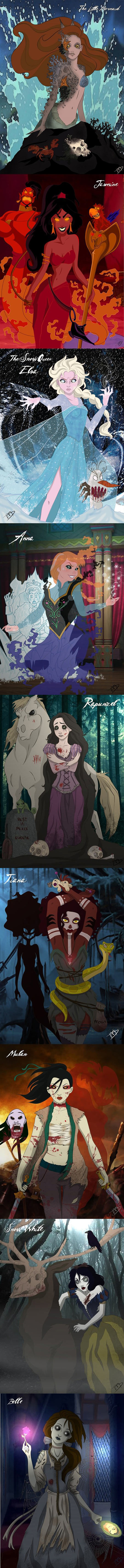 Creepy Zombie Disney Princesses