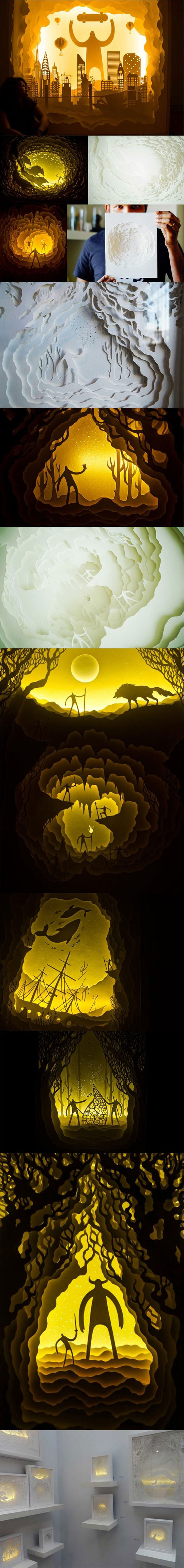 Illuminated Paper Cut Light Box Dioramas