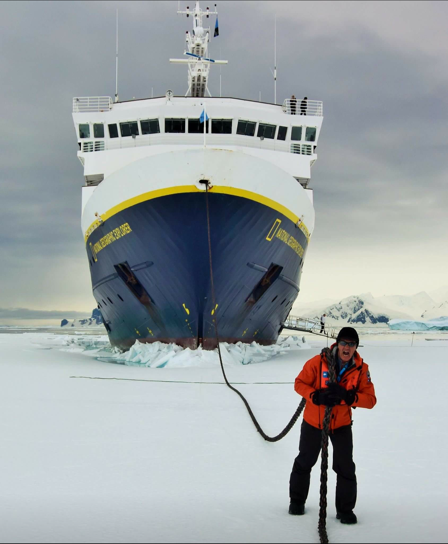 70 yr old Grandpa, helping pull the National Geographic Explorer through the ice in Antarctica