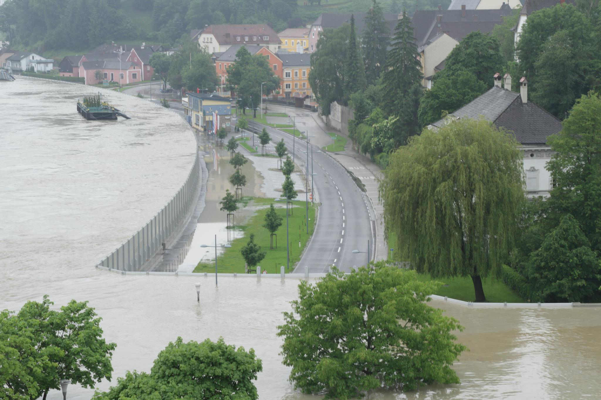 A mobile floodwall in Austria