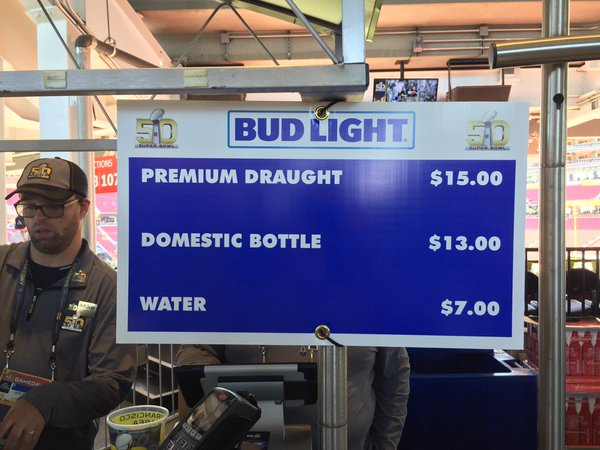 Beer prices at Super Bowl 50