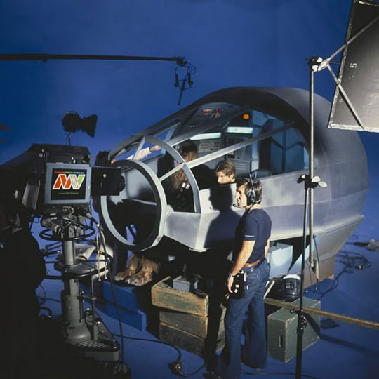 Filming the Millennium Falcon cockpit scenes