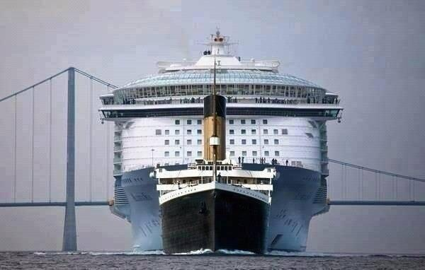 The Titanic compared to a modern Cruise Ship