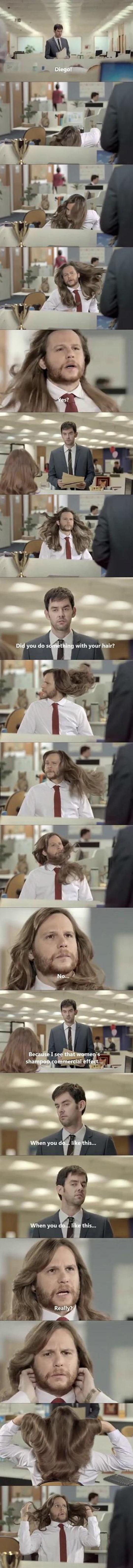 When A Man Uses Women's Shampoo